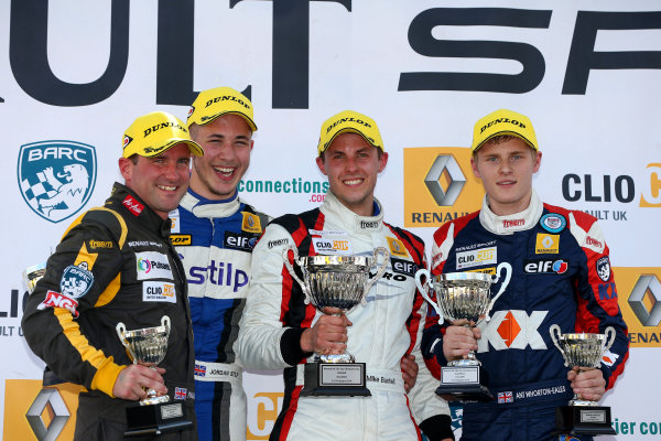 2014 Renault Clio Cup, Knockhill, Scotland. 22nd - 24th August 2014. Race 1 Podium (l-r) Paul Rivett (GBR) WDE Motorsport Renault Clio Cup, Jordan Stilp (GBR) 20Ten Racing Renault Clio Cup, Mike Bushell (GBR) VitalRacing with Team Pyro Renault Clio Cup, Ant Whorton-Eales (GBR) SV Racing with KX Renault Clio Cup. World Copyright: Ebrey / LAT Photographic.