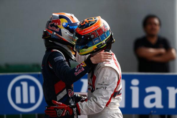2014 GP3 Series. Round 7.   Autodromo di Monza, Monza, Italy.  Sunday 7 September 2014. Dean Stoneman (GBR, Marussia Manor Racing) & Alex Lynn (GBR, Carlin)  Photo: Sam Bloxham/GP2 Series Media Service. ref: Digital Image _SBL2680