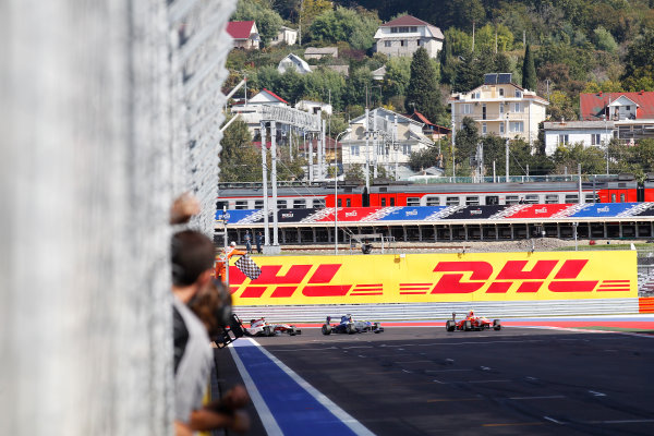 2014 GP3 Series. Round 8.   Sochi Autodrom, Sochi, Russia. Sunday Race 2 Sunday 12 October 2014. Patric Niederhauser (SUI, Arden International) takes the chequered flag to win the race from Dean Stoneman (GBR, Marussia Manor Racing) and Marvin Kirchhofer (GER, ART Grand Prix). Photo: Sam Bloxham/GP3 Series Media Service. ref: Digital Image _G7C7610