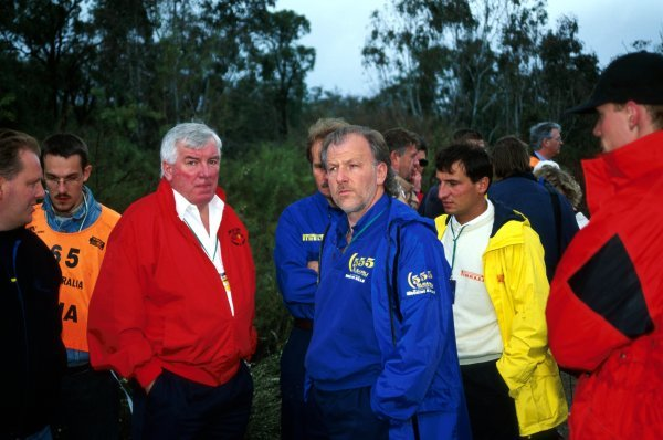 (L to R): Andrew Cowan (GBR) Mitsubishi Ralliart Boss with David Richards (GBR) Prodrive Subaru Team Principal were amongst the team owners on hand to discuss the depth of the water crossings brought on by heavy rain.