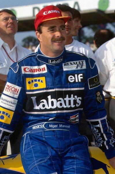 Race winner Nigel Mansell (GBR) Williams.  Formula One World Championship, German Grand Prix, Hockenheim, 26 July 1992