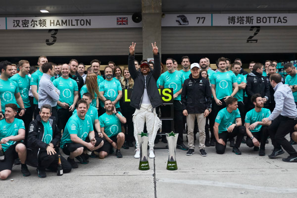 Shanghai International Circuit, Shanghai, China.  Sunday 9 April 2017. Lewis Hamilton, Mercedes AMG, 1st Position, Valtteri Bottas, Mercedes AMG, and the Mercedes team celebrate victory. World Copyright: Steve Etherington/LAT Images ref: Digital Image SNE19059