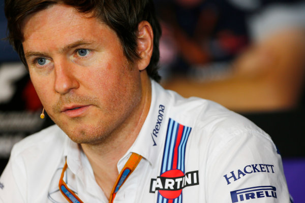 Red Bull Ring, Spielberg, Austria. Friday 01 July 2016. Rob Smedley, Head of Vehicle Performance, Williams Martini Racing, in the team principals Press Conference. World Copyright: Andy Hone/LAT Photographic ref: Digital Image _ONZ5145