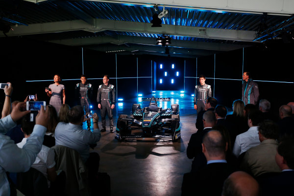 Jaguar Racing Official Formula E Launch Jaguar Heritage Collections Centre, Gaydon, UK Thursday 8 September 2016 The team on stage. World Copyright: Andrew Ferraro/LAT Photographic ref: Digital Image _14P4495