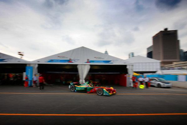 2016/2017 FIA Formula E Championship. Hong Kong ePrix, Hong Kong, China. Sunday 09 October 2016. Daniel Abt (66, ABT Schaeffler Audi Sport) leaves the pits. Photo: Adam Warner/LAT/Formula E ref: Digital Image _L5R8206