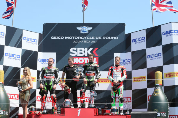 2017 Superbike World Championship - Round 8 Laguna Seca, USA. Sunday 9 July 2017 Podium: winner Jonathan Rea, Kawasaki Racing, second place Tom Sykes, Kawasaki Racing, third place Chaz Davies, Ducati Team World Copyright: Gold and Goose/LAT Images ref: Digital Image 683464