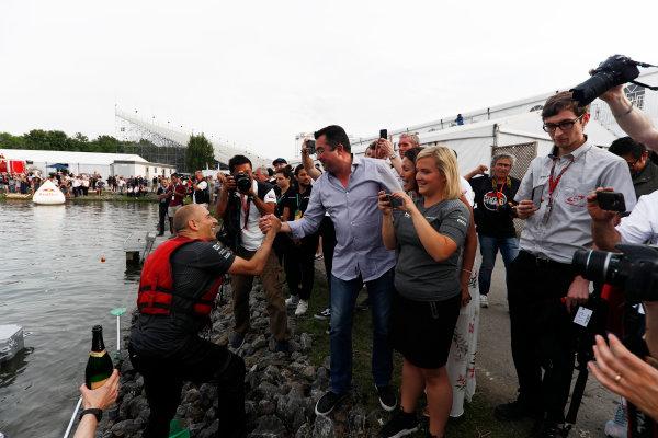 Circuit Gilles Villeneuve, Montreal, Canada. Saturday 10 June 2017. The McLaren raft team celebrate victory. World Copyright: Glenn Dunbar/LAT Images ref: Digital Image _X4I7306