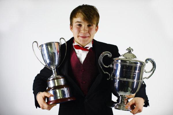 2013 Autosport Awards. Grosvenor House Hotel, Park Lane, London. Sunday 1st December 2013. McLaren Autosport BRDC Award winner Matt Parry poses with his trophies. World Copyright: Malcolm Griffiths/LAT Photographic. ref: Digital Image F80P2169