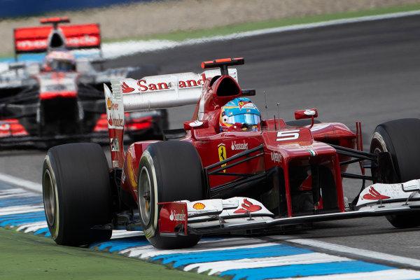 Hockenheimring, Hockenheim, Germany 22nd July 2012 Fernando Alonso, Ferrari F2012 leads Jenson Button, McLaren MP4-27 Mercedes.  World Copyright: Steve Etherington/LAT Photographic ref: Digital Image HC5C5747 copy