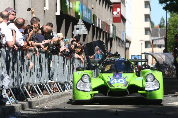 2015 Le Mans 24 Hours. Circuit de la Sarthe, Le Mans, France. Monday 8 June 2015. Krohn Racing (Ligier JS P2 Judd - LMP2), Tracey Krohn, Nick Jonsson, Joao Barbosa. World Copyright: Ebrey/LAT Photographic. ref: Digital Image 20150608_Le_Mans_Scrutineering_03