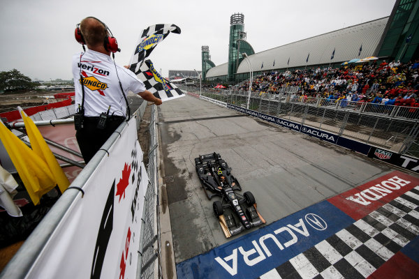 11-14 June, 2015, Toronto, Ontario, Canada Winner Josef Newgarden takes the checkered flag  ©2015, Michael L. Levitt LAT Photo USA