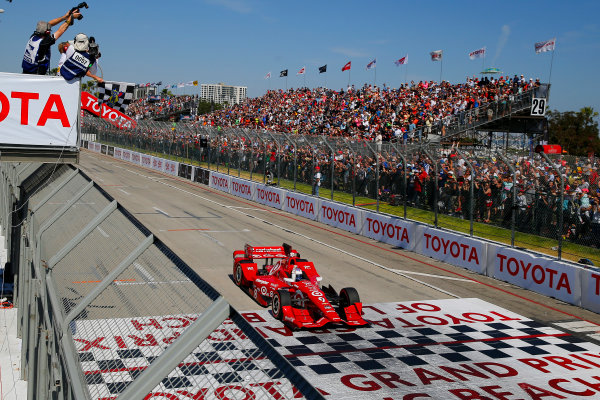 17-19 April, 2015, Long Beach, California USA Scott Dixon drives under the checkered flag to win ?2015, Russell LaBounty LAT Photo USA