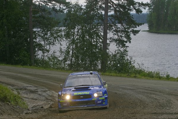 2005 FIA World Rally Champs. Round ten Rally Finland.4th - 7th August 2005.Petter Solberg, Subaru, action .World Copyright: McKlein/LAT
