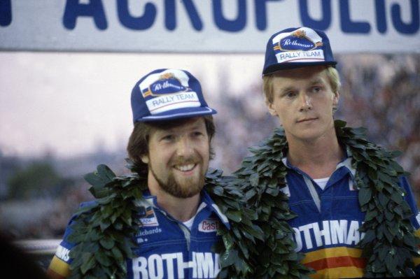 1980 World Rally Championship.Acropolis Rally, Greece. 26-29 May 1980.Ari Vatanen/David Richards (Ford Escort RS1800), 1st position. Podium, portrait.World Copyright: LAT PhotographicRef: 35mm transparency 80RALLY18