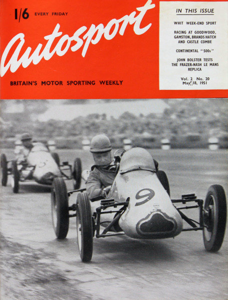 Cover of Autosport magazine, 18th May 1951. Main Picture: Eric Brandon and Alan Brown, Cooper-Norton, in the 500 c.c. race at Silverstone.