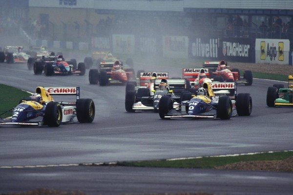 Alain Prost, Williams FW15C Renault, leads Damon Hill, Williams FW15C Renault, and Karl Wendlinger, Sauber C12.