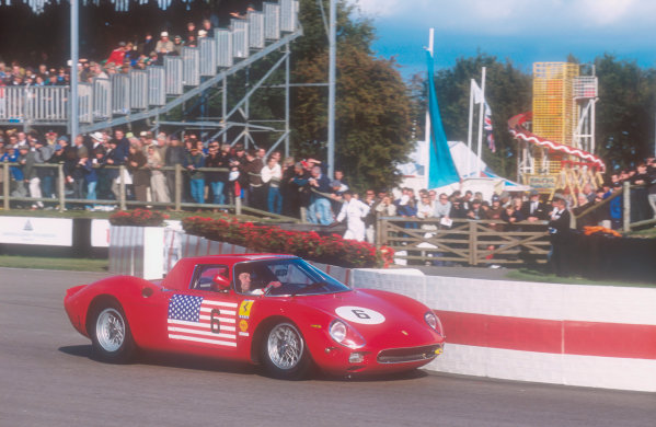 2001 Goodwood Revival.Goodwood, Sussex, England.15-16 September 2001.Jackie Oliver (Ferrari 250 LM) 7th position in the Whitsun Trophy race. Ref-01 GR 48.World Copyright - LAT Photographic