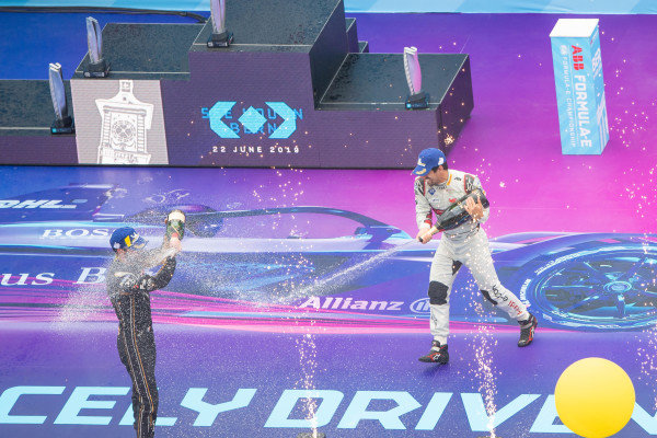 Lucas Di Grassi (BRA), Audi Sport ABT Schaeffler and Jean-Eric Vergne (FRA), DS TECHEETAH celebrate on the podium
