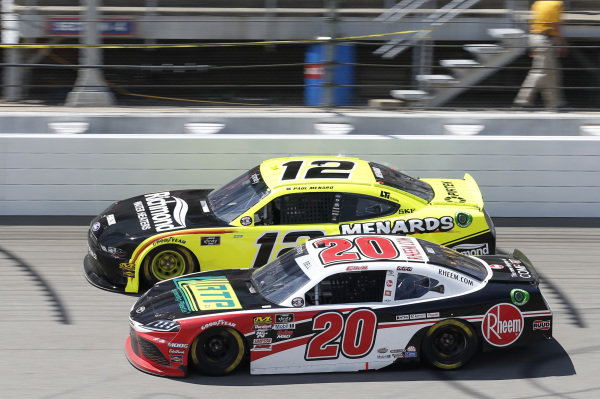 #20: Christopher Bell, Joe Gibbs Racing, Toyota Supra Rheem / RTP #12: Paul Menard, Team Penske, Ford Mustang Menards/Richmond