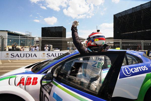 Sérgio Jimenez (BRA), Jaguar Brazil Racing celebrates victory in parc ferme