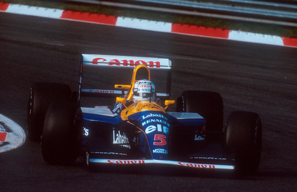 1992 Belgian Grand Prix.Spa-Francorchamps, Belgium.28-30 August 1992.Nigel Mansell (Williams FW14B Renault) 2nd position. World Copyright - LAT Photographic
