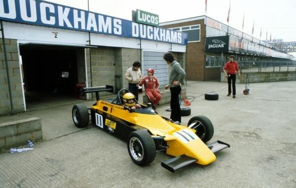 Ayrton Senna (BRA) Rushen Green Racing Van Diemen RF82 prepares to go out on track. Senna won each of the three visits to Silverstone. British Formula Ford 2000 Championship, Silverstone, 28 March, England, 1982.