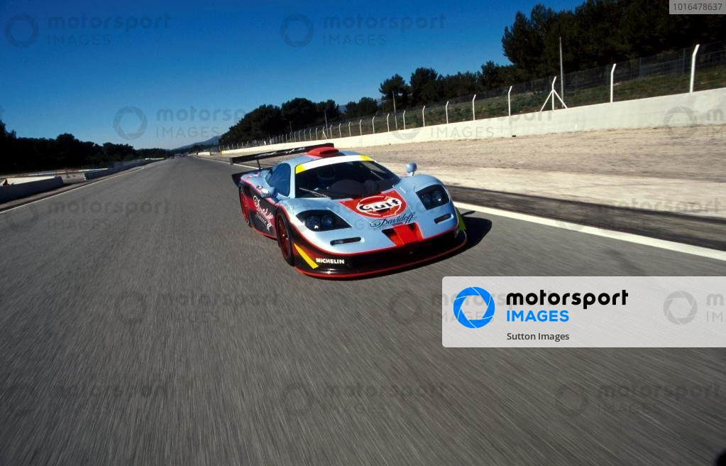 The new GTC Competition longtail McLaren F1 GTR is put through its paces around Paul Ricard.FIA GT Championship Testing, Paul Ricard, France, 19-20 March 1997.BEST IMAGE