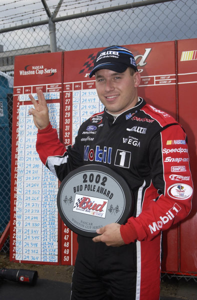 2002 NASCAR,New Hampshire Intl. Speedway,Sept 13-15, 2002 NASCAR, Loudon,NH . USA -Ryan Newman with 3 fingers for 3 poles,Copyright-Robt LeSieur2002LAT Photographic