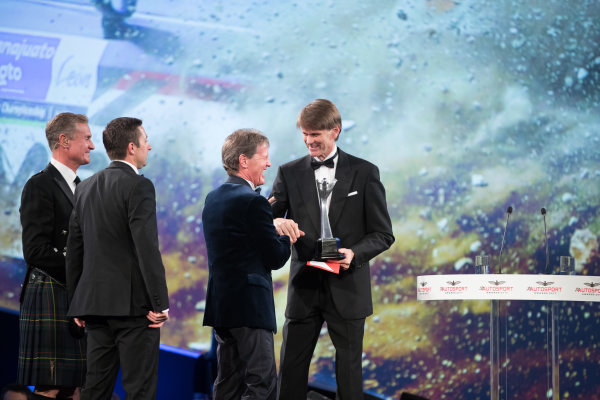 2017 Autosport Awards Grosvenor House Hotel, Park Lane, London. Sunday 3 December 2017. Marcus Gronholm presents the Rally Car of the Year Award for the Ford Fiesta RS WRC to Malcolm Wilson. World Copyright: Zak Mauger/LAT Images  ref: Digital Image _O3I7039