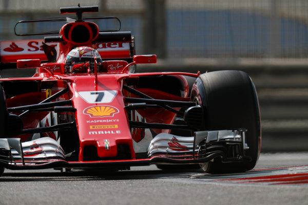 Yas Marina Circuit, Abu Dhabi, United Arab Emirates. Tuesday 28 November 2017. Kimi Raikkonen, Ferrari SF70H.  World Copyright: Zak Mauger/LAT Images  ref: Digital Image _56I5480