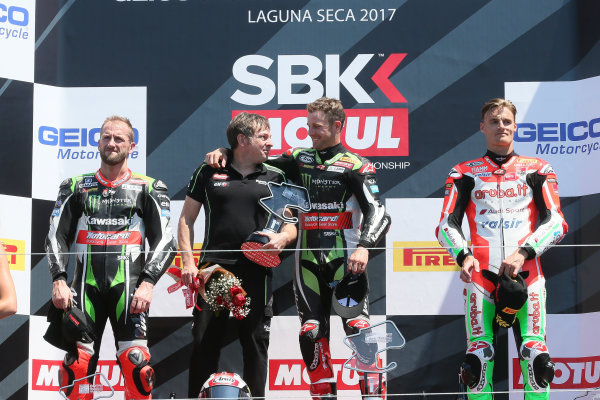 2017 Superbike World Championship - Round 8 Laguna Seca, USA. Sunday 9 July 2017 Podium: winner Jonathan Rea, Kawasaki Racing, second place Tom Sykes, Kawasaki Racing, third place Chaz Davies, Ducati Team World Copyright: Gold and Goose/LAT Images ref: Digital Image 683405