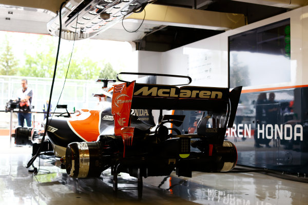 Circuit Gilles Villeneuve, Montreal, Canada. Friday 09 June 2017. A McLaren MCL32 Honda on its stands in the pit garage. World Copyright: Steven Tee/LAT Images ref: Digital Image _O3I7405