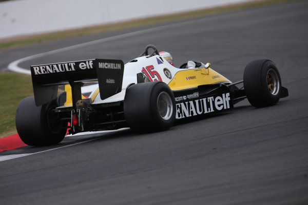 Silverstone, Northamptonshire, UK.  Saturday 15 July 2017. A 1983 Alain Prost raced Renault RE40 is driven in a parade celebrating 40 years since the Renault team first entered a Formula 1 Grand Prix. World Copyright: Dom Romney/LAT Images  ref: Digital Image 11DXA7035