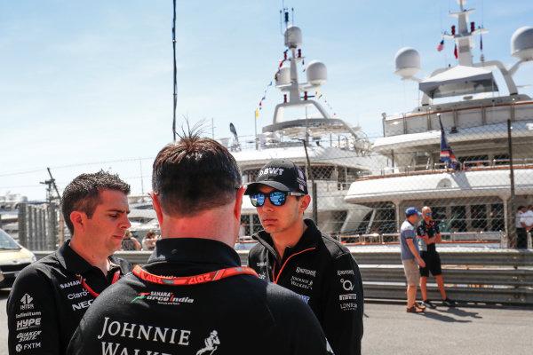 Monte Carlo, Monaco. Wednesday 24 May 2017. Esteban Ocon, Force India. World Copyright: Sam Bloxham/LAT Images ref: Digital Image _J6I9794