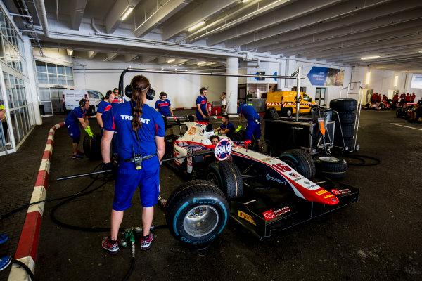 2017 FIA Formula 2 Round 3. Monte Carlo, Monaco. Wednesday 24 May 2017. Pitstop practice with the car of Nabil Jeffri (MAS, Trident)  Photo: Zak Mauger/FIA Formula 2. ref: Digital Image _56I4657