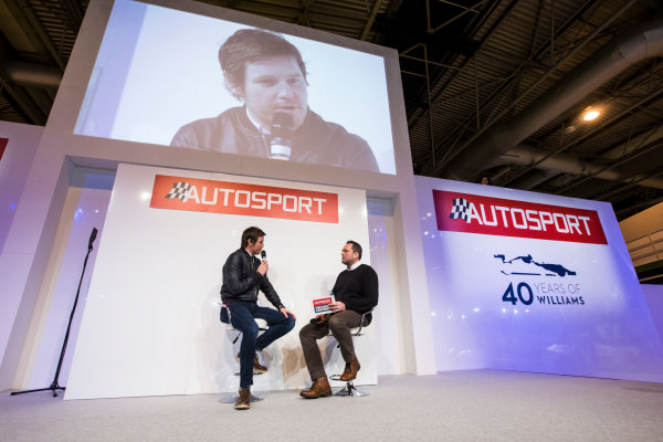Autosport International Exhibition. National Exhibition Centre, Birmingham, UK. Sunday 15 January 2017. Rob Smedley (Rob Smedley, Head of Vehicle Performance, Williams Martini Racing), is interviewed on the Autosport Stage Photo: Sam Bloxham/LAT Photographic ref: Digital Image _SLB5212