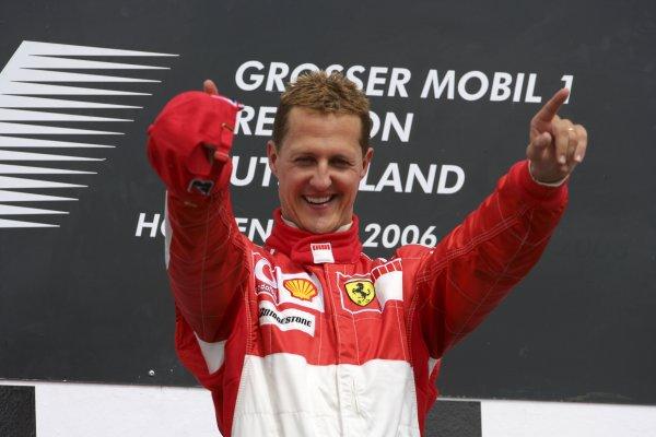 2006 German Grand Prix - Sunday Race Hockenheim, Germany. 27th - 30th July. Michael Schumacher (1st position), Ferrari, celebrates on the podium. World Copyright: Lorenzo Bellanca/LAT Photographic ref: Digital Image ZD2J2076