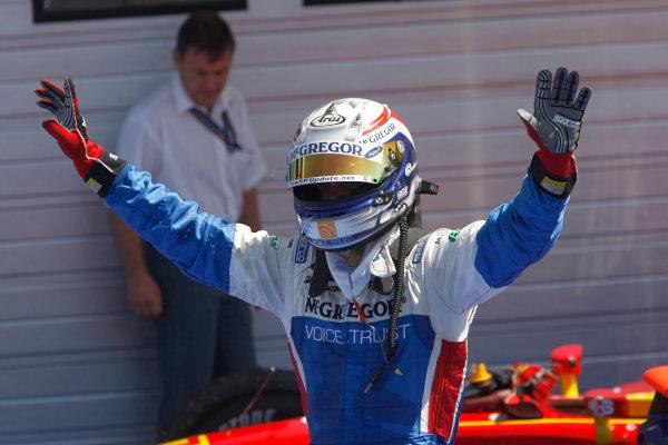 Hungaroring, Budapest, Hungary. 26th July 2009.Sunday Race.Giedo  Van der Garde (NED, iSport International) celebrates his victory. World Copyright: Andrew Ferraro / GP2 Series Media Service.Ref: _H0Y8420 jpg