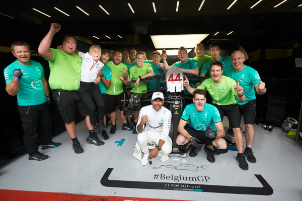 Spa Francorchamps, Belgium.  Sunday 27 August 2017. Lewis Hamilton, Mercedes AMG, 1st Position, celebrates with his team. World Copyright: Steve Etherington/LAT Images  ref: Digital Image SNE10910