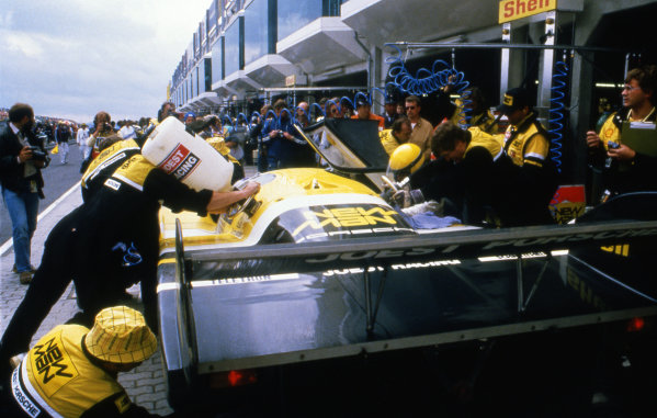 Ayrton Senna (BRA) Climbing into car, finished eighth in his first and only sportscar race driving a Joest Racing Porsche 956 with Henri Pescarolo (FRA) and Stefan Johansson (SWE). World Sportscar Championship, ADAC 1000 Kilometres, Nurburgring, Germany, 15 July 1984.