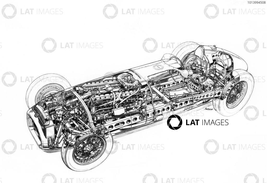 1951 BRM P15. Cutaway drawing. World Copyright: LAT Photographic.  Ref:  B/W Print.