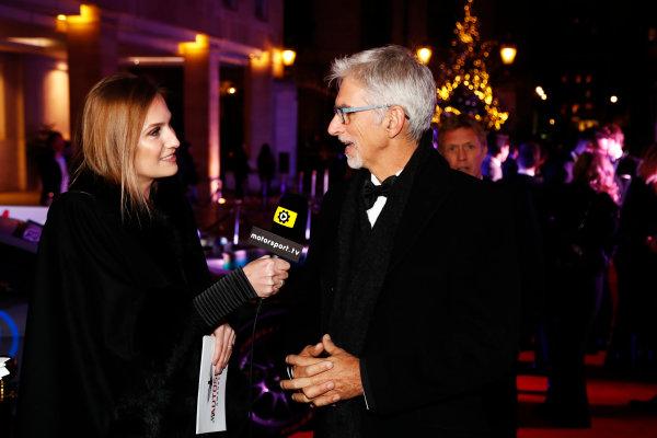 2017 Autosport Awards Grosvenor House Hotel, Park Lane, London. Sunday 3 December 2017. Julia Piquet interviews Damon Hill. World Copyright: Glenn Dunbar/LAT Images Ref: Digital Image _31I1501
