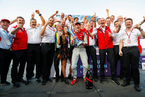 2017/2018 FIA Formula E Championship. Round 2 - Hong Kong, China. Sunday 03 December 2017. Daniel Abt (GER), Audi Sport ABT Schaeffler, Audi e-tron FE04, celebrates with Allan McNish, Team Principal, Audi Sport Abt Schaeffler, and the rest of the team after winning the race. Photo: Alastair Staley/LAT/Formula E ref: Digital Image _MGL9892