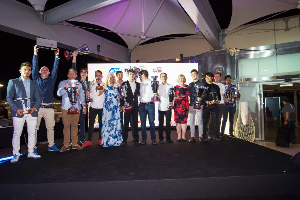 2017 Awards Evening. Yas Marina Circuit, Abu Dhabi, United Arab Emirates. Sunday 26 November 2017. Award winners on stage. Photo: Zak Mauger/FIA Formula 2/GP3 Series. ref: Digital Image _X0W0213