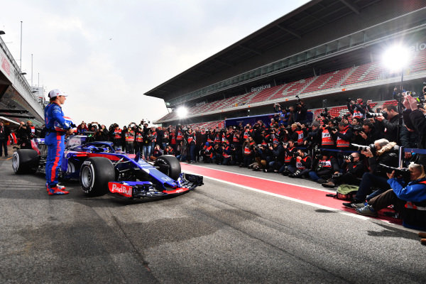 Pierre Gasly (FRA) Scuderia Toro Rosso and Brendon Hartley (NZL) Scuderia Toro Rosso with the new Scuderia Toro Rosso STR13 at Formula One Testing, Day One, Barcelona, Spain, 26 February 2018. BEST IMAGE