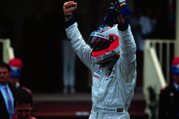 1997 Monaco Grand Prix.Monte Carlo, Monaco.8-11 May 1997.Rubens Barrichello (Stewart Ford) after finishing in 2nd position.World Copyright - LAT Photographic