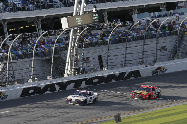 #11: Denny Hamlin, Joe Gibbs Racing, Toyota Camry FedEx Express, #19: Martin Truex Jr., Joe Gibbs Racing, Toyota Camry Bass Pro Shops