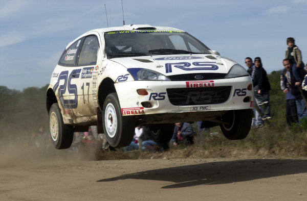 2001 World Rally Championship. ArgentinaMay 3rd-6th, 2001Francois Delecour jumps on stage 13.Photo: Ralph Hardwick/LAT