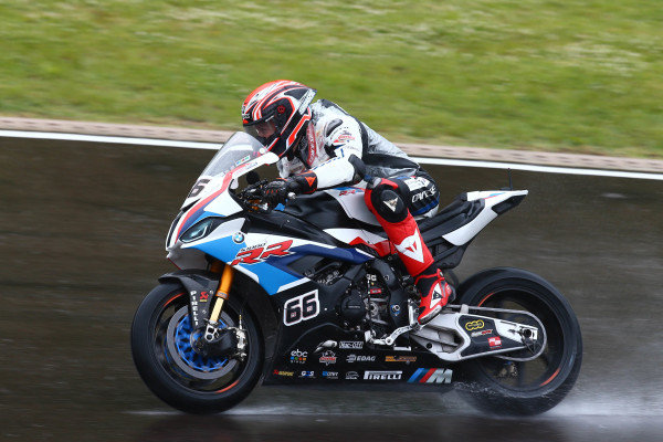 Tom Sykes, BMW Motorrad WorldSBK Team on wet assessment laps.