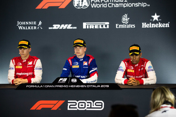 AUTODROMO NAZIONALE MONZA, ITALY - SEPTEMBER 07: Robert Shwartzman (RUS, PREMA Racing) Marcus Armstrong (NZL, PREMA Racing) and Jehan Daruvala (IND, PREMA Racing) during the Monza at Autodromo Nazionale Monza on September 07, 2019 in Autodromo Nazionale Monza, Italy. (Photo by Joe Portlock / LAT Images / FIA F3 Championship)
